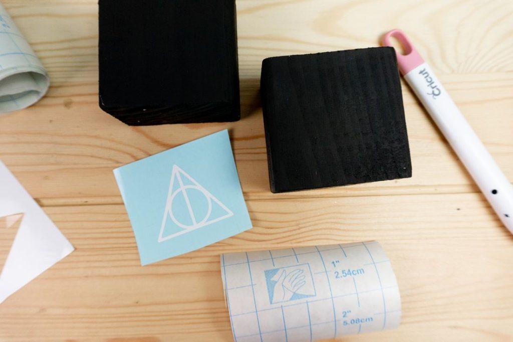 Wood block and sticker vinyl