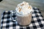 Instant Pot Double Hot Chocolate on Grey wood with black and white plaid napkin