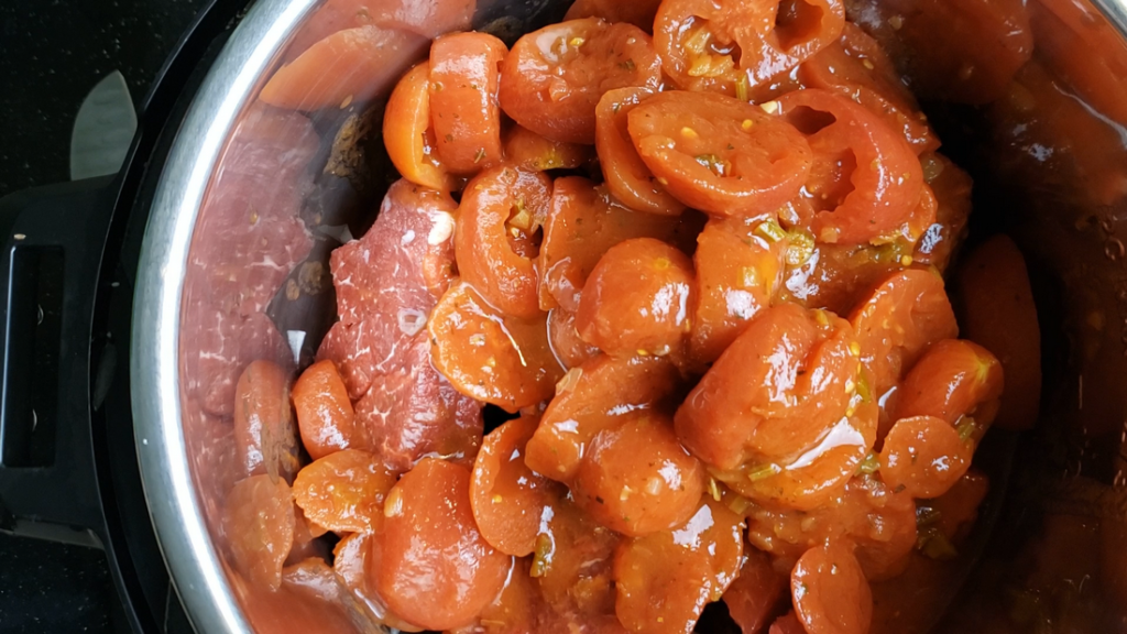Stewed tomatoes inside the instant pot