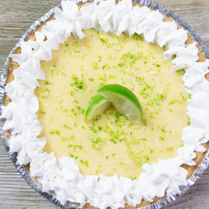 Key West Key Lime Pie on grey wood background