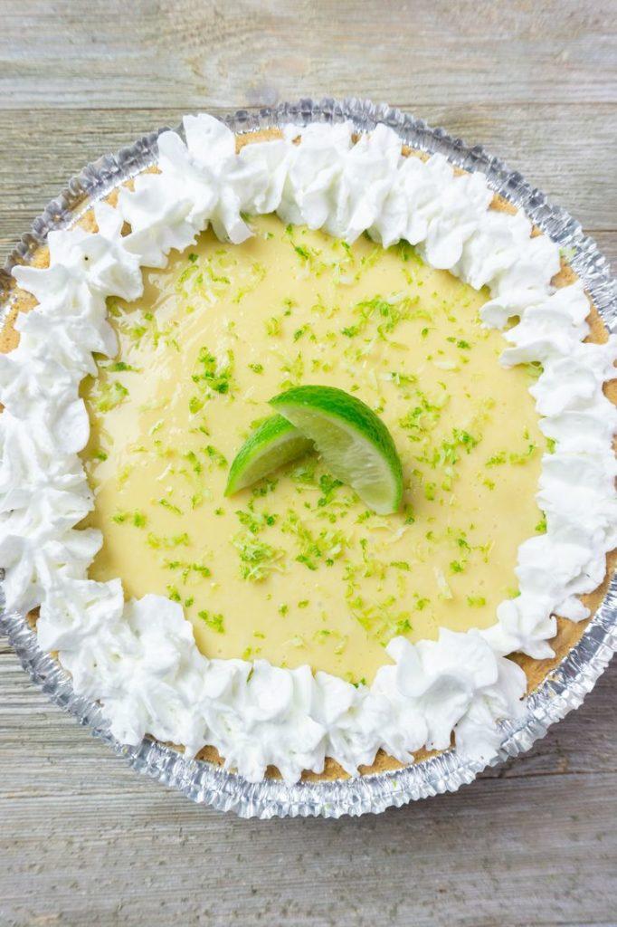 Key West Key Lime Pie on grey wood