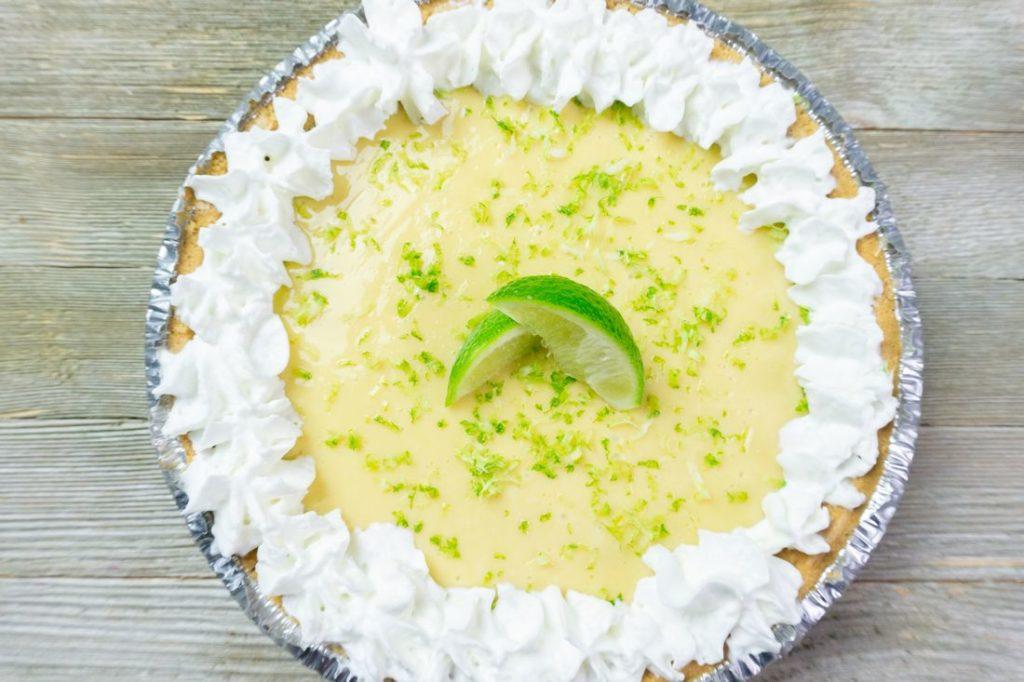 Key West Key Lime Pie on grey wood backdrop
