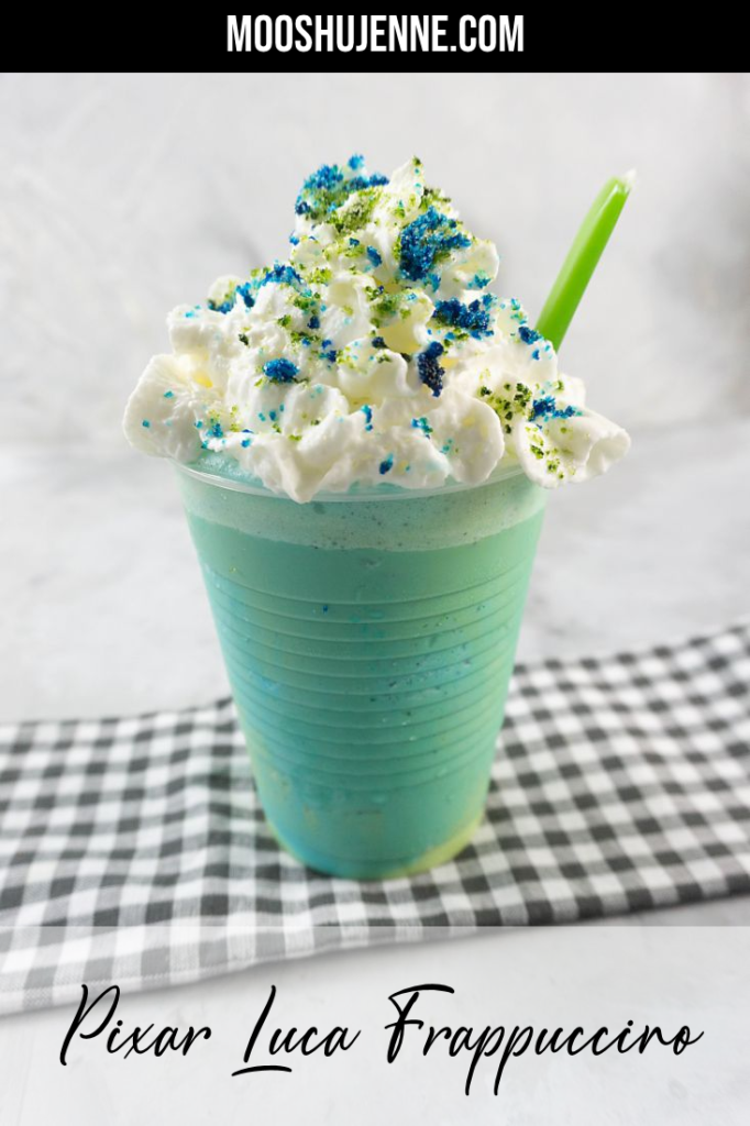 pixar luca frappuccino with green and blue frap ice cream along with whipped topping and green and blue sugars