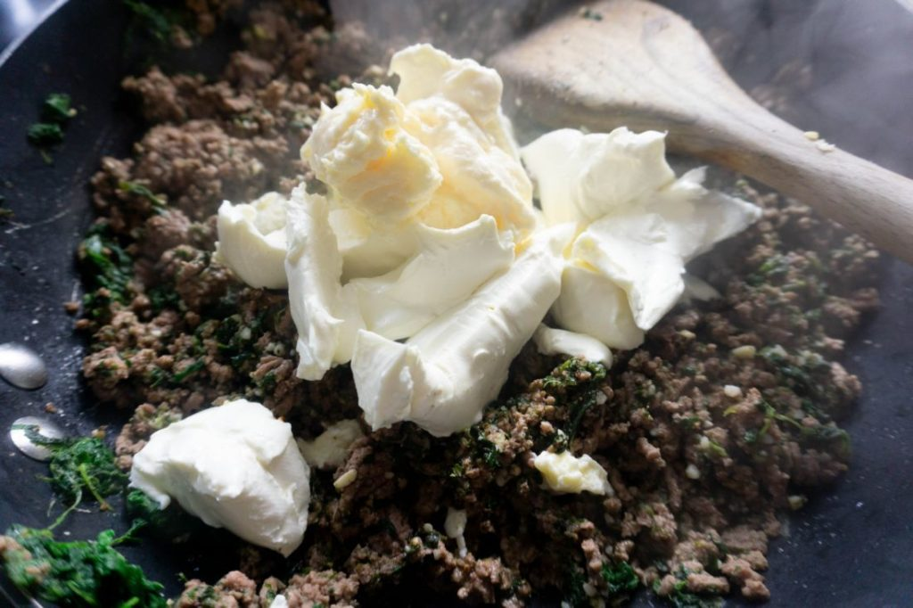 cream cheese and mayo on the ground beef mixture