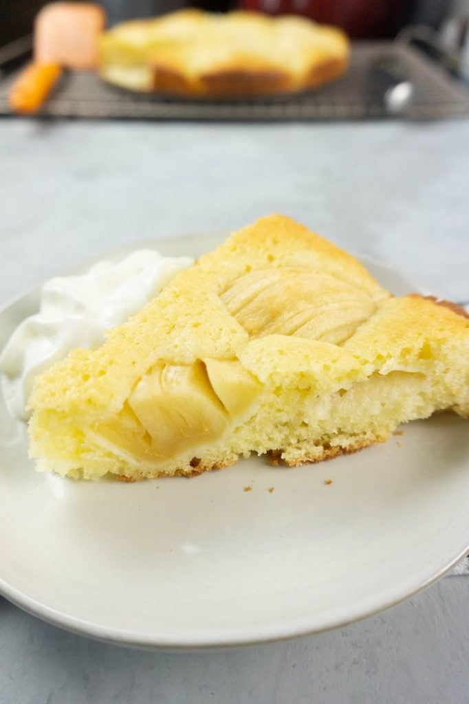 German Apple Coffee Cake with sliced apples on a concrete gray back drop